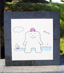 大理石に絵が描いてあります