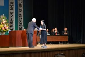 米寿代表の方へ記念品贈呈