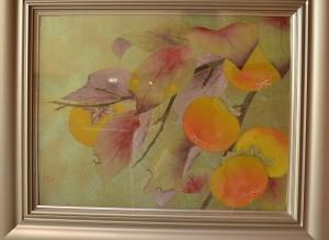 秋らしい題材の日本画作品
